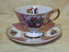 VINTAGE SHAFFORD JAPAN PINK PANELS, FRUITS AND BASKET Tea cup and saucer
