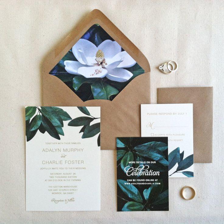 Rustic Southern Wedding Invitation Sample // Magnolia Wedding Invitation Sample Set // Kraft Envelopes // Printed Invitation Set Sample (5.00 USD) by LilyandJude