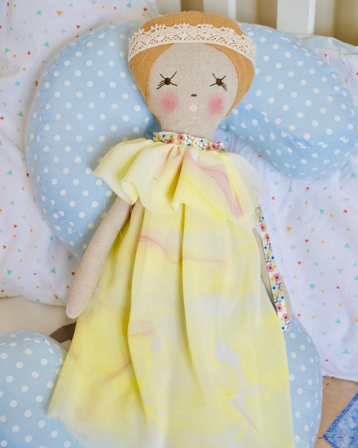 """0 Likes, 1 Comments - 🔹 Vanya 🔹 (@littlecraftyco) on Instagram: """"Miss Tanya - dressed up in hand painted dress.  #handmadedoll #heirloomdoll #fabricdoll #clothdoll…"""""""