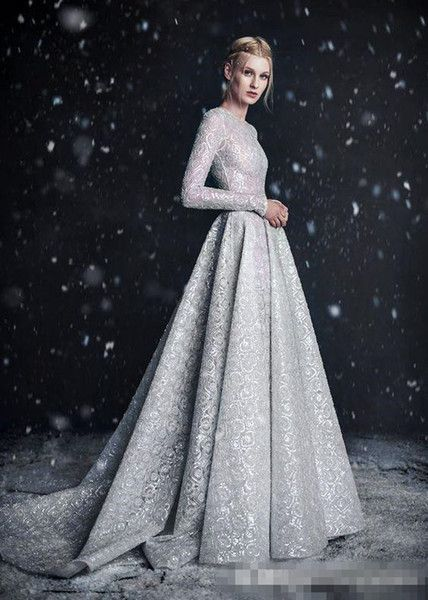 Paolo Sebastian 2018 Silver Lace Wedding Dresses with Pocket High Neck Long Slee…