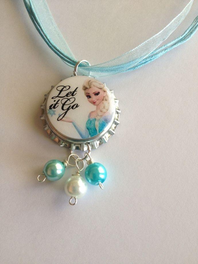 """Frozen Elsa """"LET IT GO"""" bottle cap bracelet with beads by bottlecapjen, $6.95 USD"""
