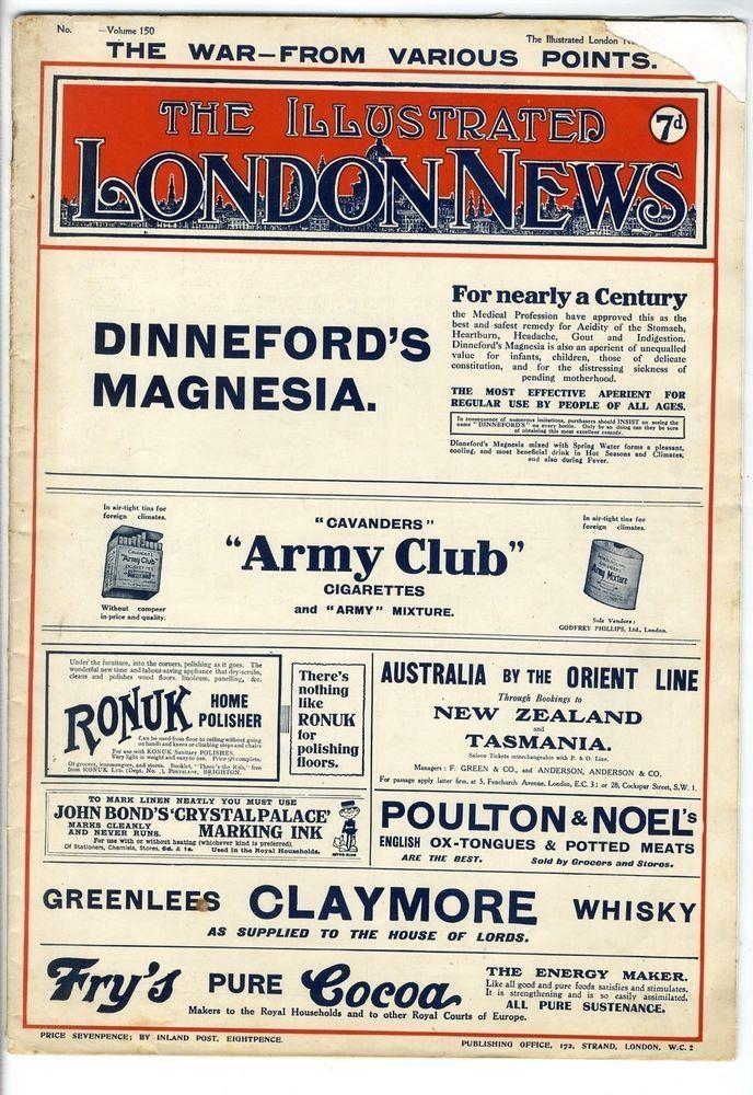 1917 ILLUSTRATED LONDON NEWS WW1 Hammersmith Broadway WILL DYSON Arras (7704)
