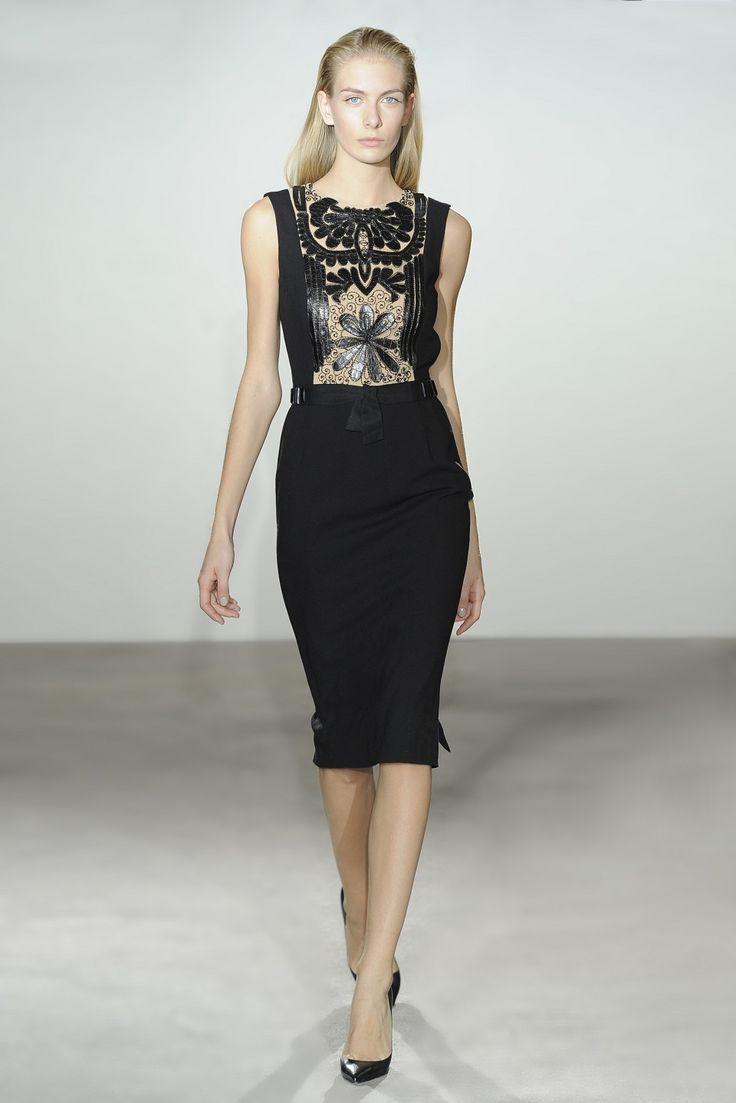 Collette Dinnigan Leather Filigree Wool & Sequins Beaded Insert Dress