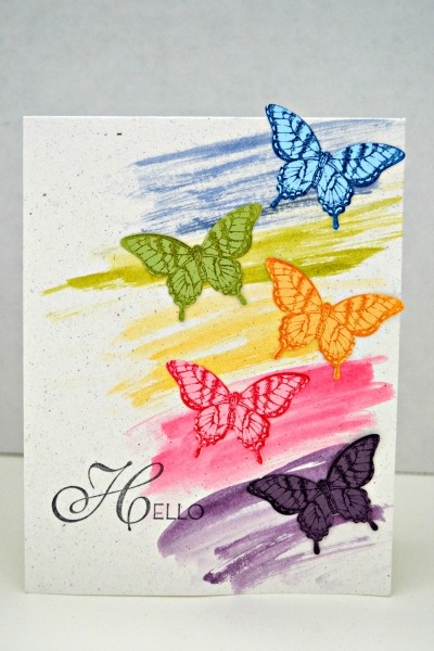 Butterfly Hello stampin up - interesting way to create a background of sorts, with the markers, I presume.