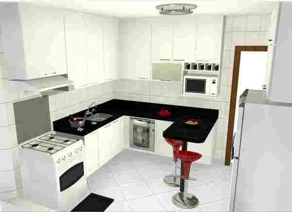 Balcão para cozinha de apartamento pequeno