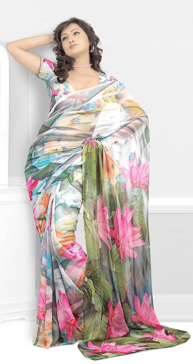 Unique Pastel Floral Printed Saree