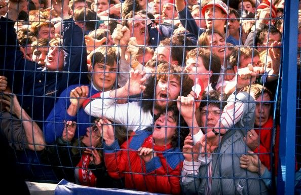 Football fans at Hillsborough stadium in Sheffield, April 15, 1989.
