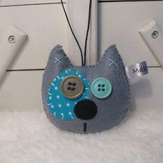 Porte-clé chat gris et bleu - feutrine