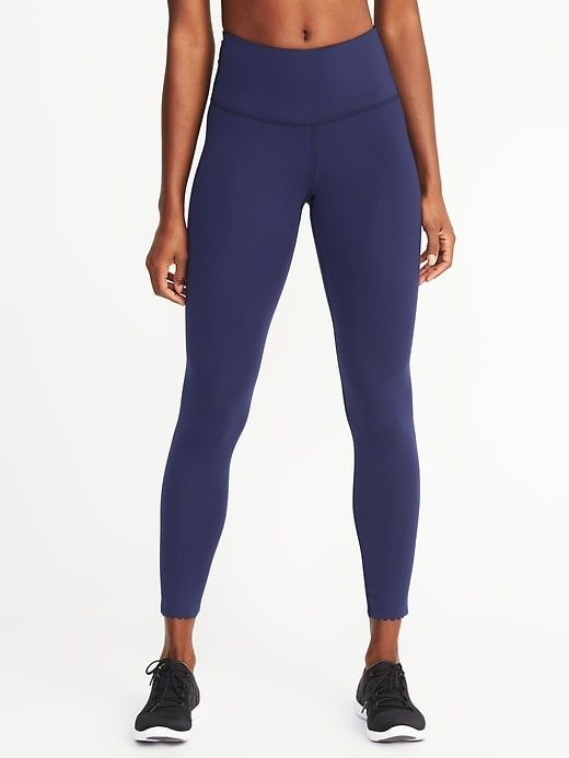 9178504f73 High-Rise 7 8-Length Scallop-Hem Compression Leggings for Women ...