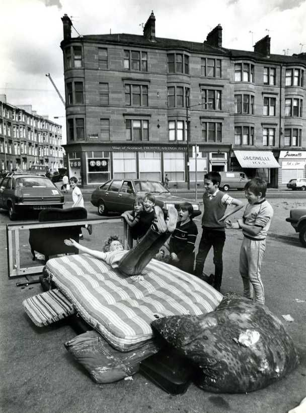 Kids playing in the streets of Maryhill in Glasgow in the early 1970's