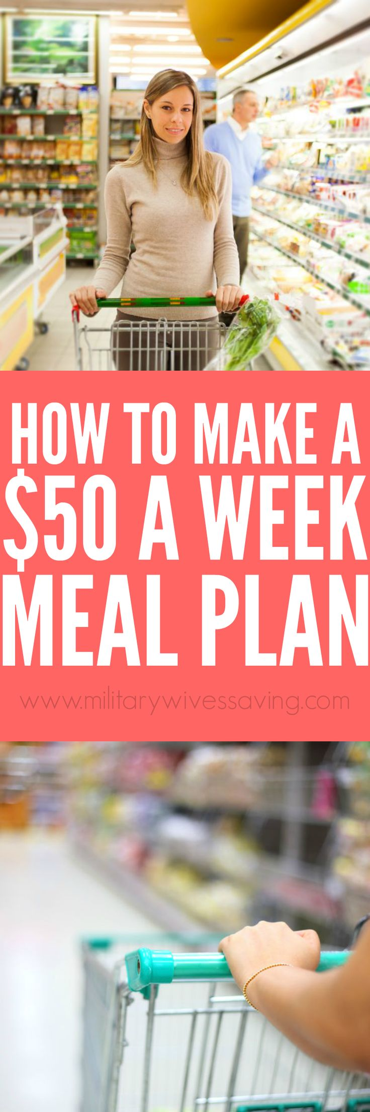 How to create a $50 a week meal plan and grocery food budget! Add this to you meal planning board!
