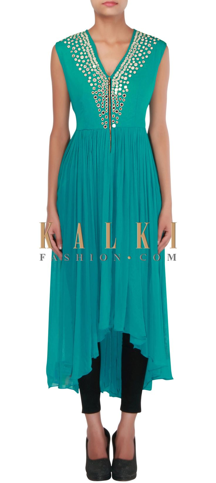 Buy Online from the link below. We ship worldwide (Free Shipping over US$100) http://www.kalkifashion.com/green-high-low-kurti-embellished-in-mirror-only-on-kalki.html