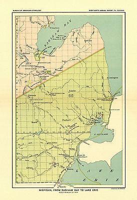 Indian Land Cessions Map American Ethnology Michigan Saginaw Bay