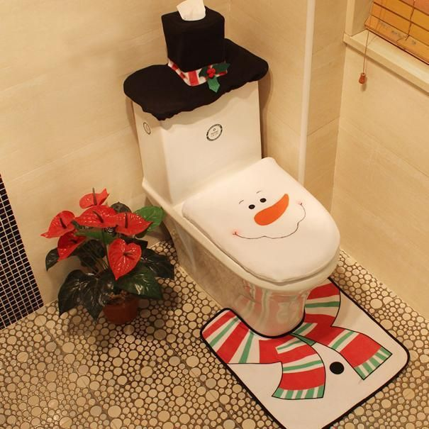2017 Santa Claus Toilet Seat Cover And Rug Bathroom Set Contour Christmas Decorations For Home