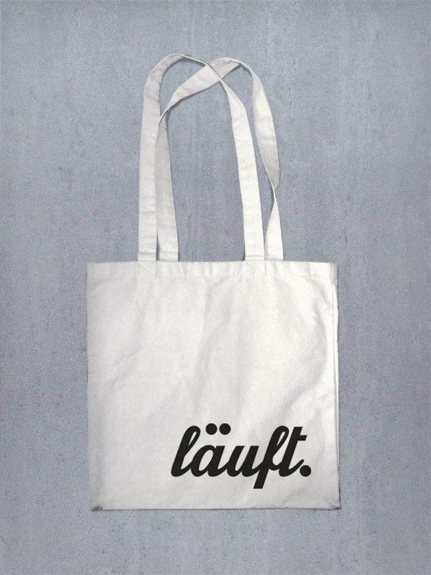 Wenn es läuft, dann läufts, Jutebeutel mit Typo / printed bag, funny by lazy day fashion via DaWanda.com