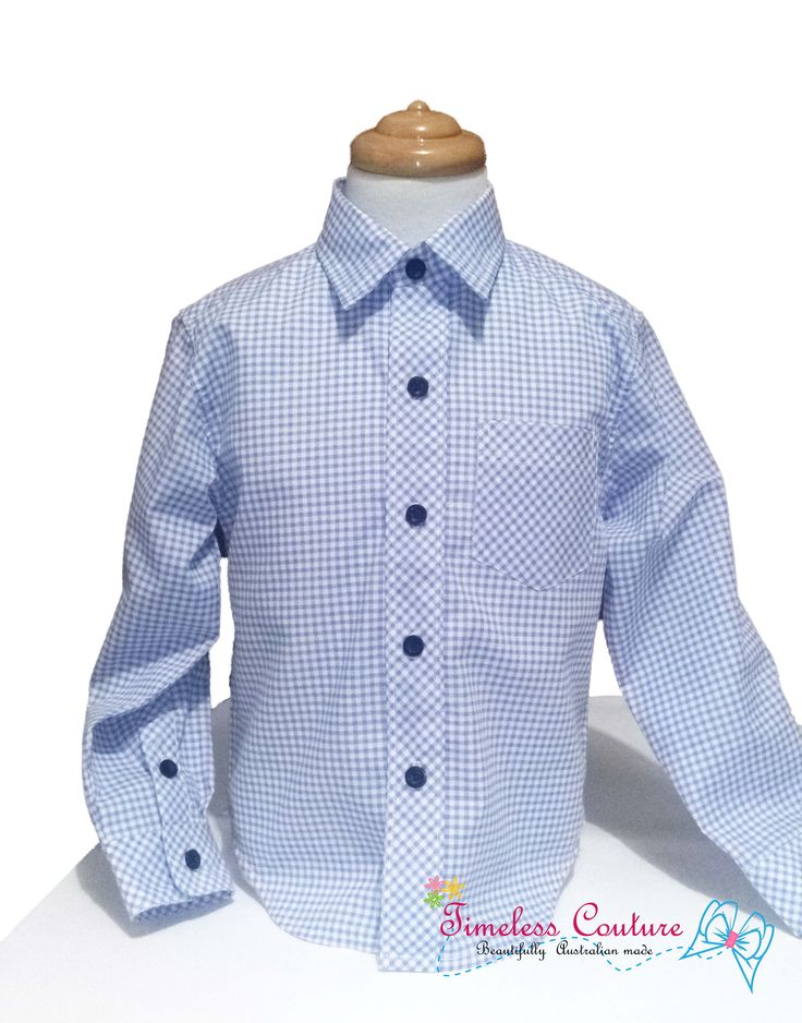 Another customer order finished and sent. MINI BLUE CHECKS, boys shirt size 5 Classic style with dark buttons, great for any occasion. 👌 🏃👔🎩⌚⭐⚽🏆💙    #boyswillbeboys #minichecks #blue #longsleeve #handmade #inspiration #madewithlove  https://www.facebook.com/a.b.timelesscouture/photos/a.650984908437357.1073741854.148263548709498/671051259764055/?type=3&theater