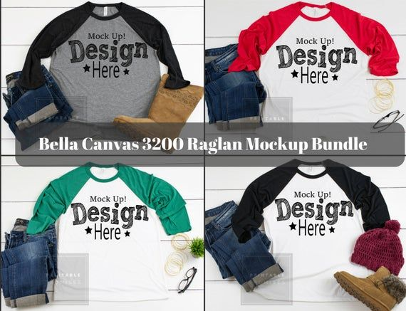 Download Free Raglan Shirt Mockup Bundle Bella Canvas 3200 Raglan Mockup Psd Free Psd Mockups Smart Object And Templates To Create Shirt Mockup Clothing Mockup Mockup