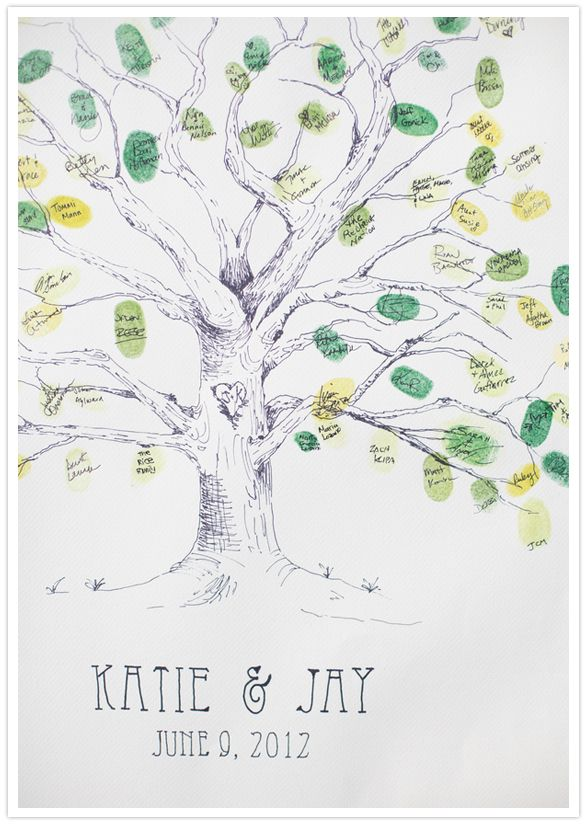love the idea of a guestbook with everyone's fingerprint on a tree like a family.