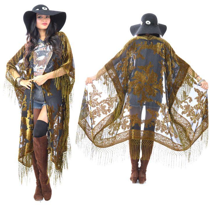 Sheer Silk Burnout Velvet Fringe Hippie Boho Gypsy MOSS Fall Kimono Jacket by SaldanaVintage on Etsy https://www.etsy.com/listing/206084055/sheer-silk-burnout-velvet-fringe-hippie