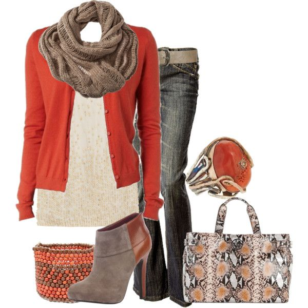 Orange button up with brown scarf.
