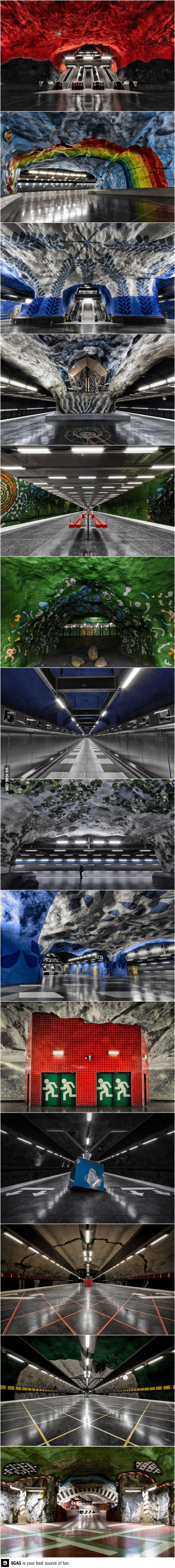 Stunning underground art In Stockholm's metro station