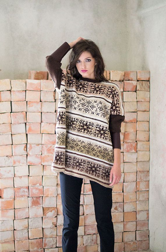 Beige Nordic Sweater Oversize Bat Sweater Hand by BVLifeStyle