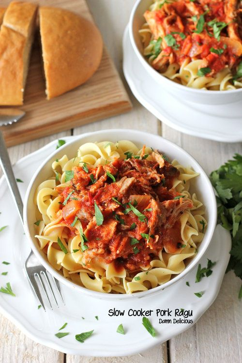 Slow Cooker Pork Ragu - Flavorful, tender pork easily made in the