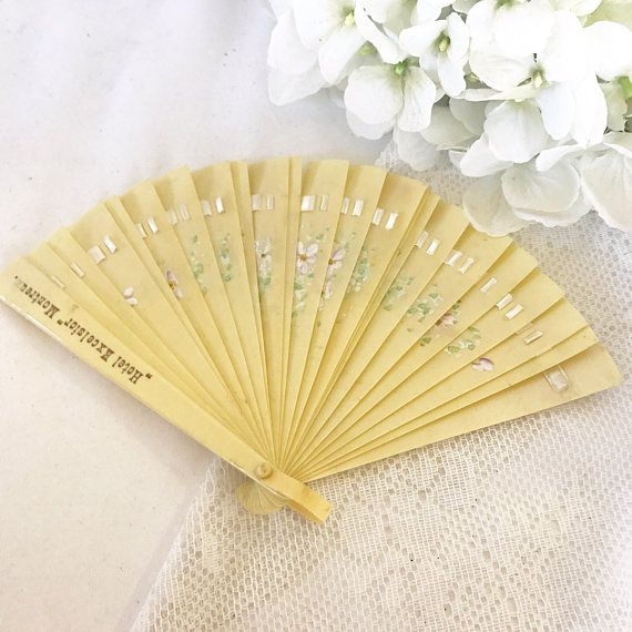 Lovely Antique Celluloid Ladies' Hand Held Fan Victorian Floral Ribbon Opera Folding Fan Hand Painted Edwardian Hotel Excelsior Montreux by WonderCabinetArts