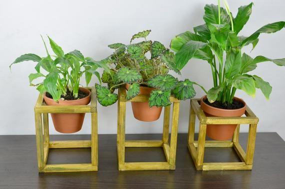Plant Stand Modern Wood Decor Plant Pot Holder Flower Pot Stand Minimalist Stand Rustic Plant Stand Wooden Plant Stand Plant Holder