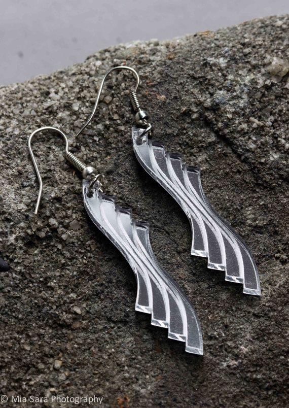 Laser cut earings  Art Deco silver mirrored acrylic by Deccoangel, $20.00