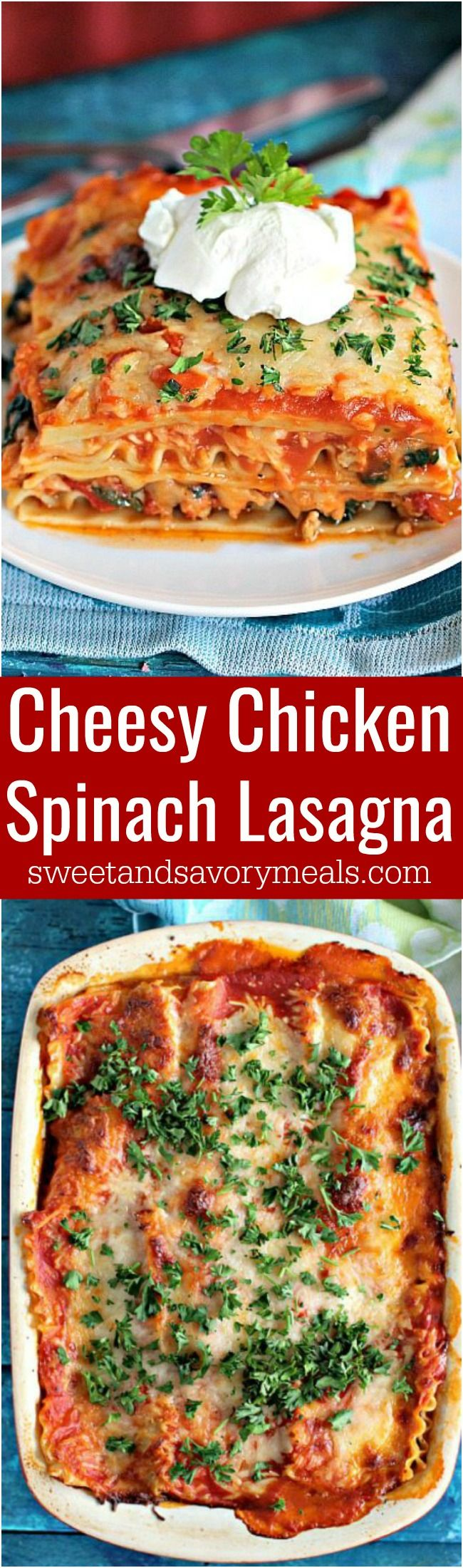 Best Chicken Spinach Lasagna is easy to make, loaded with lean chicken and spinach for a nutritional boost. Delicious, and leftovers taste amazing! #lasagna #chicken #italian