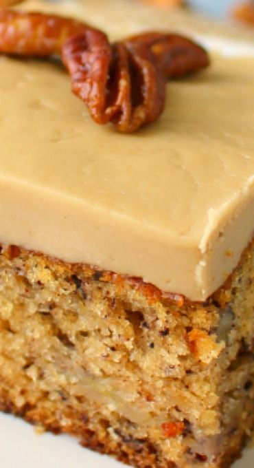 Banana Pecan Sheet Cake with Maple Frosting