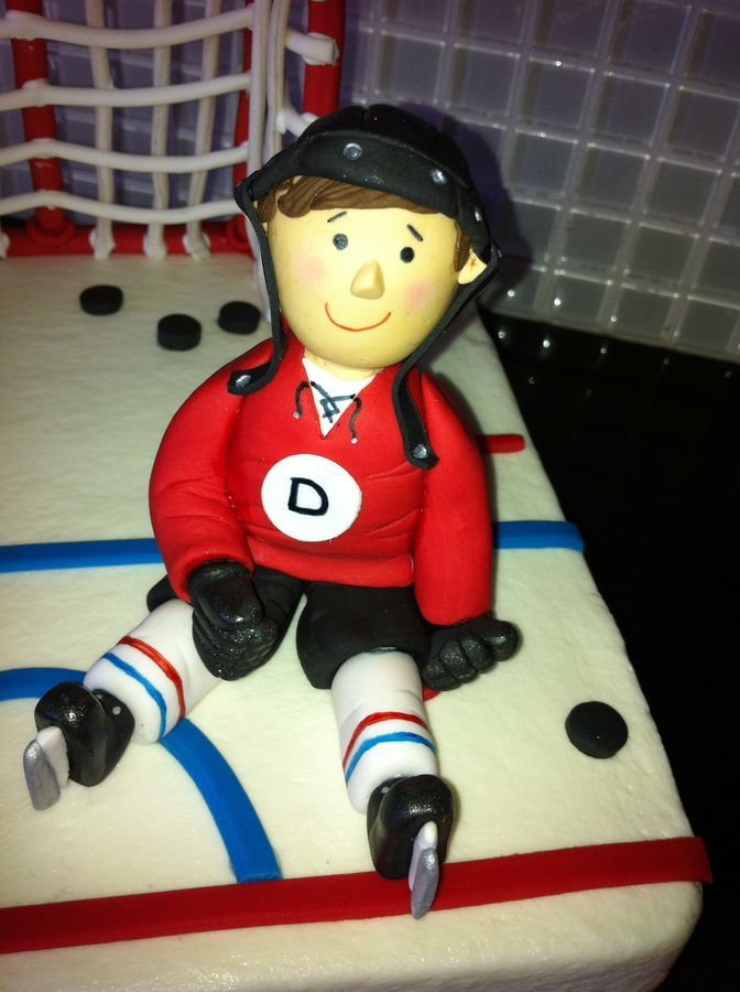 Hockey player cake topper. Cake figurine.