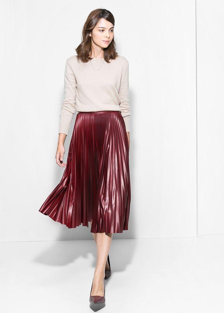Pleated midi skirt - Women | MANGO