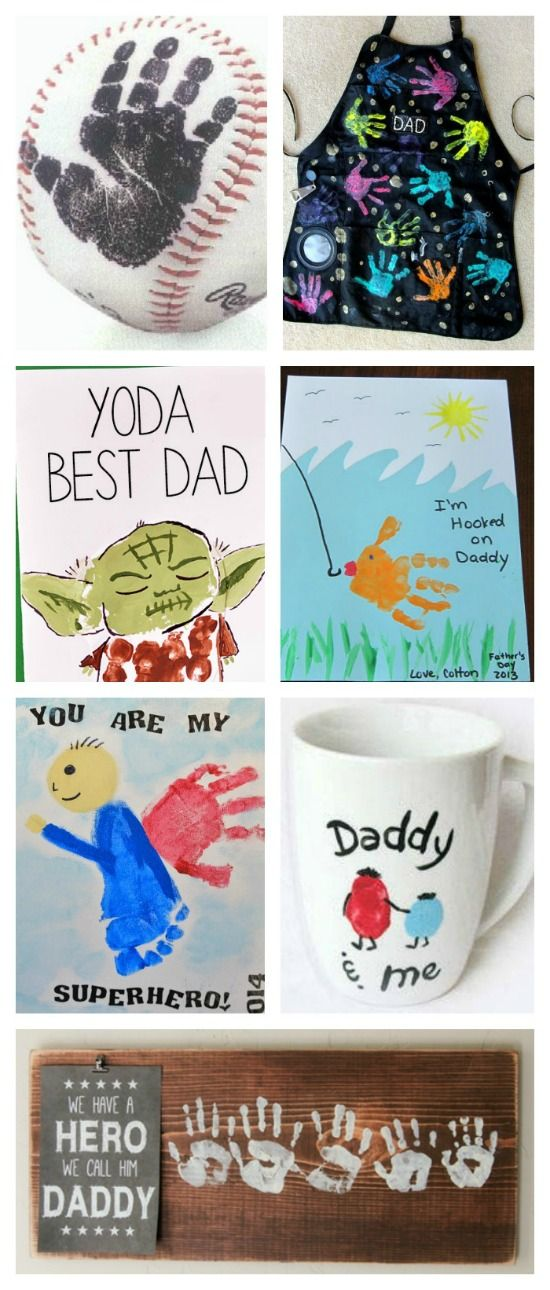 25 hand print gift ideas for Father's Day. Great ideas for the young ones to give as gifts. How cute are these? My hubby would LOVE!