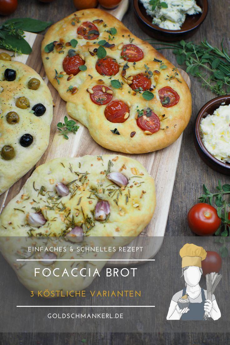Rezept für einfaches Focaccia Brot: 3 köstliche Varianten [Knoblauch & Rosmarin / Tomaten & Pinienkerne / Oliven]