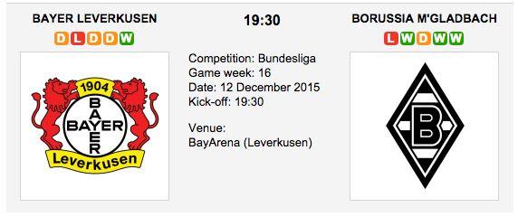 Bayer Leverkusen is strong at home with 25 wins under its belt. However, it's hard to ignore Monchengladbach's eight-match winning streak. Bayer Leverkusen vs. Borussia M'gladbach -  Bundesliga Match Date: 12 December 2015 (local time) Match Venue: BayArena (Leverkusen)