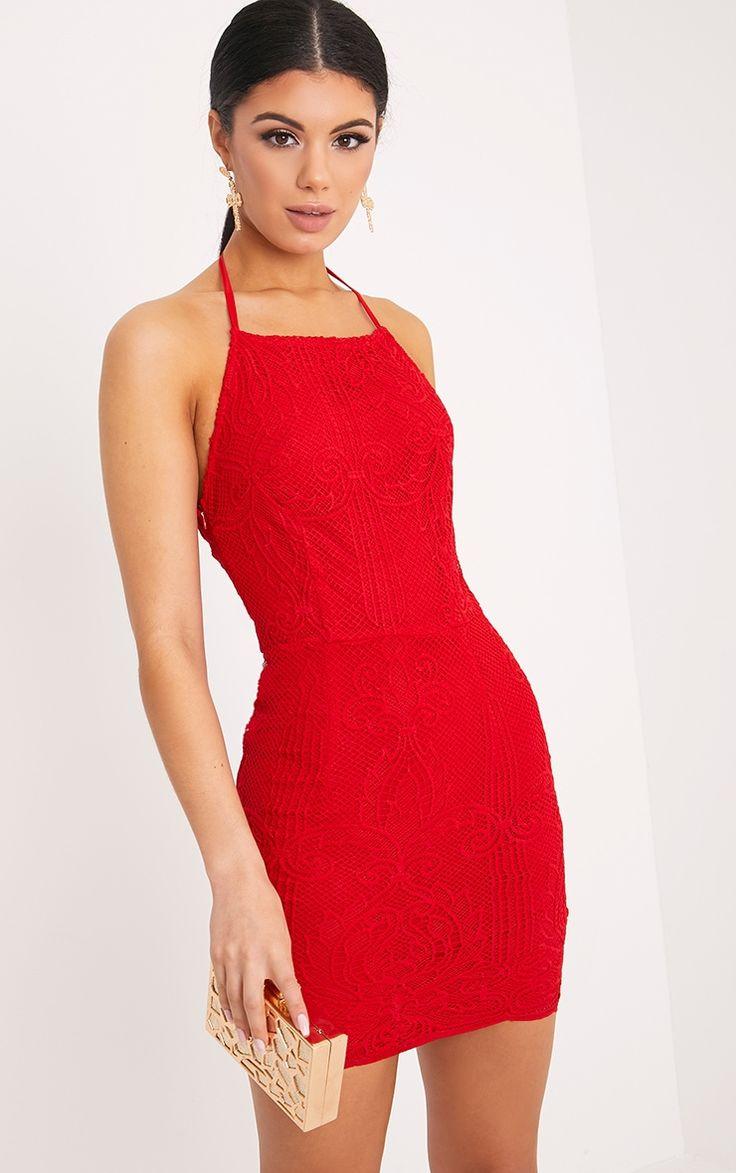 Sassia Red Halterneck Strappy Back Lace Dress