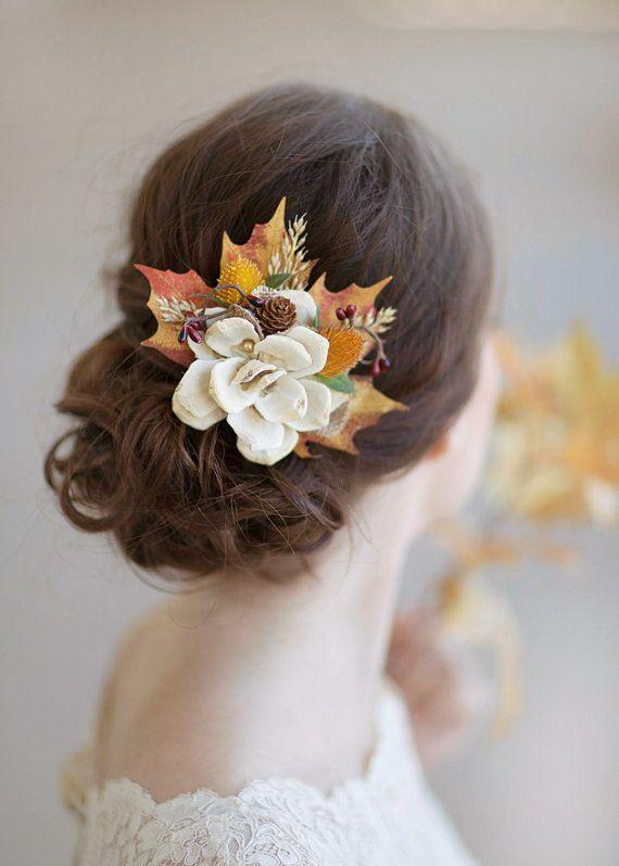 fall hair accessories autumn wedding rustic bridal door thehoneycomb