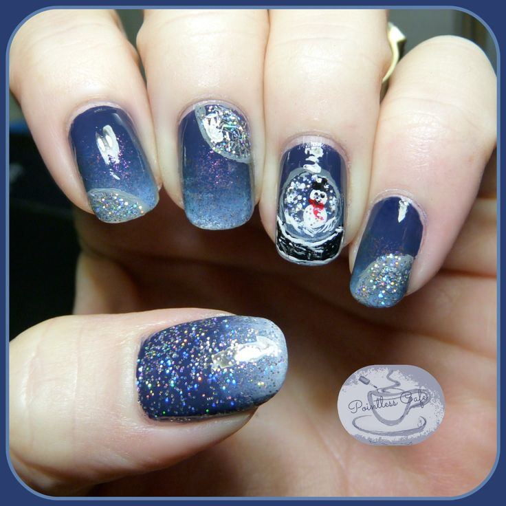 The Digit-al Dozen Does Winter Wonderland: Day 1 - Snow Globe Nail Art | Pointless Cafe featuring Zoya Sailor, Livingston and Electra