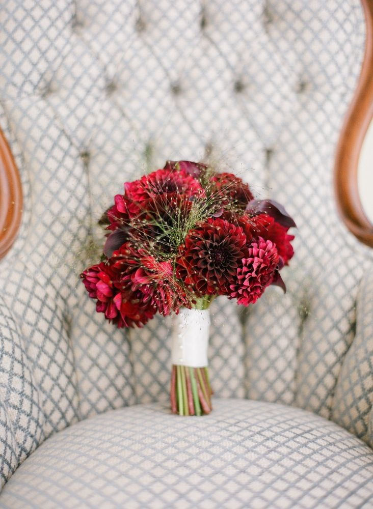Deep Red Wedding Bouquet would be pretty with pine/evergreens... Wedding ideas for brides, grooms, parents & planners ... https://itunes.apple.com/us/app/the-gold-wedding-planner/id498112599?ls=1=8  ... The Gold Wedding Planner iPhone App.