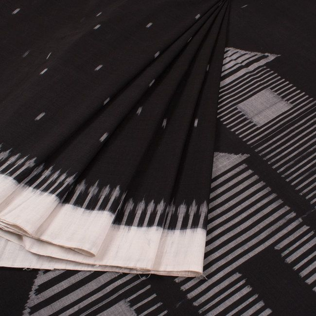 Handwoven Black & White Ikat Cotton Saree With Hut Design Pallu 10017502 - AVISHYA.COM