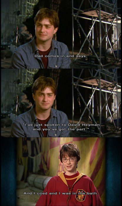 saraherself: takingthetardistohogwarts: younopoo: Most famous line of Daniel Radcliffe's…ever: And I cried and I was in the bath. dsgjbkjf will always reblog this. reblogged this once today already but i can't not reblog again