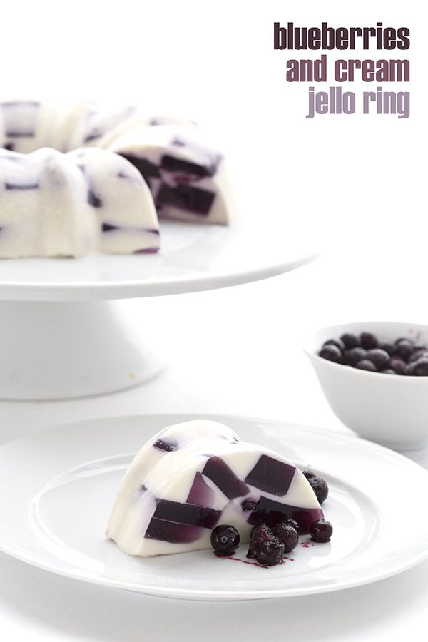 Fun, funky, and healthy! This low carb keto gelatin dessert is made with wild blueberries and fresh cream. A kid-friendly summer recipe.  via @dreamaboutfood