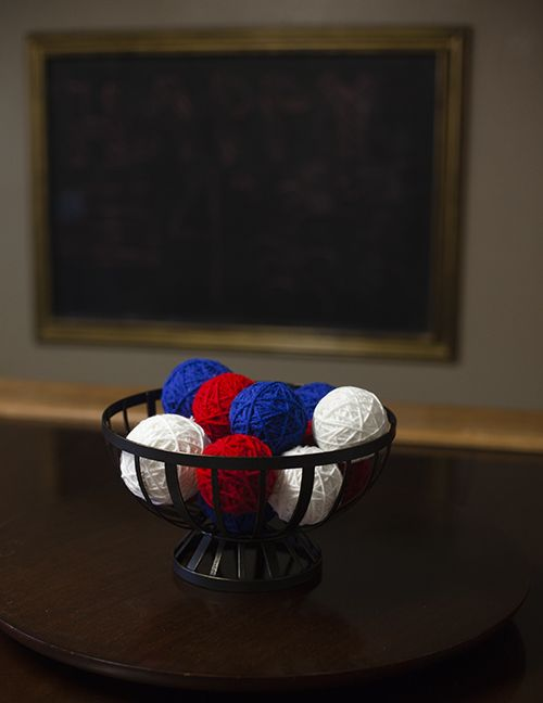 Easy fun 4th of July Table Decor!  Make our great Simple Craft Idea with yarn and a few minutes of time!  A perfect Fourth of July Decoration everyone will love!