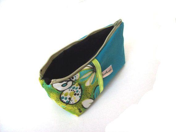 Trousse ecole scolaire turquoise et coton motifs anis