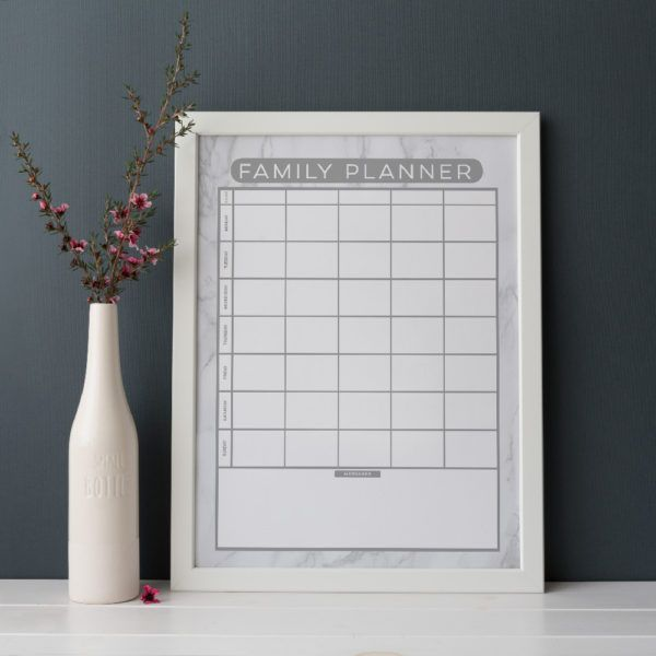 Reusable Marble Look Family Planner (weekly planner) for unto 5 people.  Write on the glass with liquid chalk and wipe clean with a damp cloth. Organising life, beautifully! www.atpcreativedesign.com