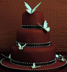 Teal butterflies and deep brown cocoa colored cake