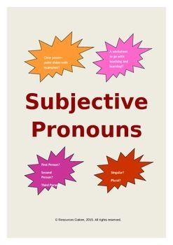 This resource is ready to use addressing the characteristics of subjective pronouns. This product has many significant features:* a clear set of powerpoint slides with definition, examples, quiz and a short exercise for teaching subjective pronouns to students.* an useful resource for teaching subjective pronouns to middle school students in general and especially to those who follow core standards targetting a part of L.6.1a.