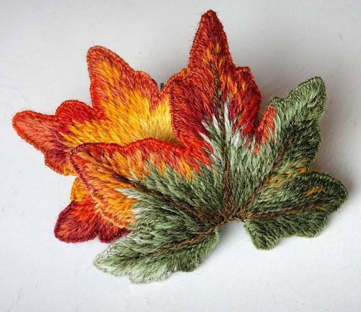 Dimensional Embroidery of Fall Leaves - each of these leaves is embroidered in wool on water soluble...